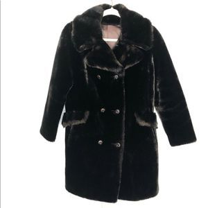 Vintage Aleutian double breasted faux fur coat